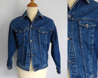 Mens teens denim jacket, vintage 80s batwing long sleeve, button up, french retro jean jacket, coat, x small