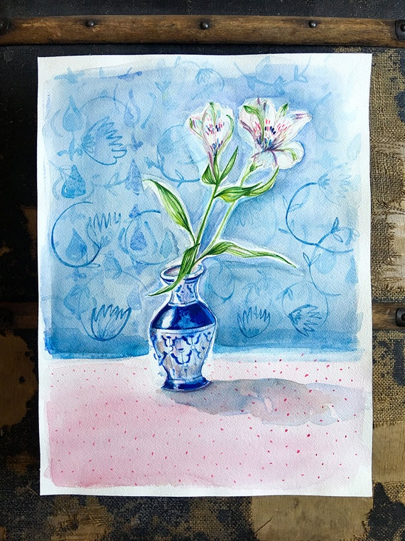 Original watercolor and ink painting on paper Dotty Blue Vase artwork by Paula Mills