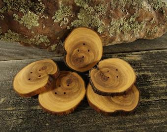 5 boutons en bois - Juniper, boutons à la main (5035)