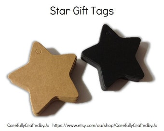 25,50,100,150 Star - Black, Kraft - DIY Gift Tags - Perfect for wedding,christmas, favours,gift tags,goodie bag tags, price tags