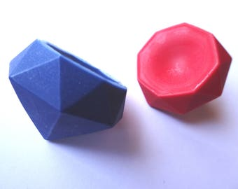 2 Gem Crayons - Ruby and Sapphire -  Red and Blue - Novelty Crayons - RECYCLED
