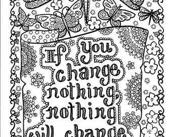 5 pages Instant Download Be BrAvE Coloring Book Inspirational Art to Color