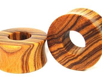 Olive wood Flat Ear Tunnel 02 Handmade Gauges/Stretchers/Custom Made Ear Tunnels sizes10mm-40mm