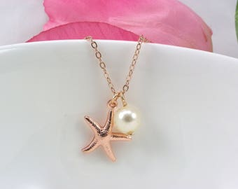 Bridesmaid Gift, Rose Gold Starfish Necklace, Starfish Necklace, Rose Gold chain and Pearl Necklace, Beach Nautical Wedding Jewelry,