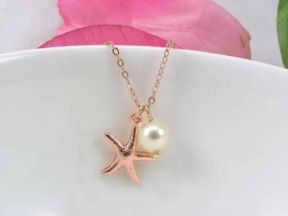 Bridesmaid Gift Rose Gold Starfish Necklace Starfish
