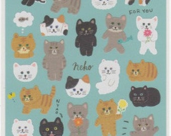 Cat Stickers - Neko Stickers -  Japanese Stickers - Mind Wave Stickers - Reference A6249-50
