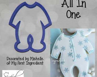 All In One / Baby PJs / Sleeper / Footie Cookie and Fondant Cutter