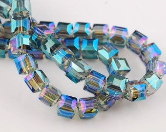 5 FACETED CRYSTAL GLASS BEADS SQUARE 8 MM.
