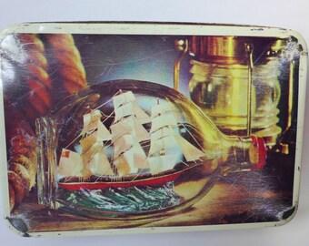 SALE: Vintage Tall Ship Nautical Tin ~ Vintage Canister ~ Rustic Decor ~ Ship in Bottle ~ Beach House ~ Tea Tin