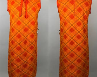 Vintage 70s Orange Knit Dress Peter Pan Tie Front Bow NWT Deadstock Large