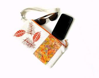 Wristlet clutch, detachable strap slim bag, leaf design, linen purse, handbag, small clutchbag zipper pouch