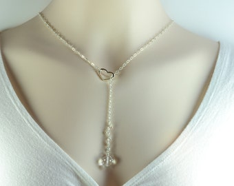 Heart Lariat Necklace - Crystal Y Necklace - Clear Crystal Lariat Necklace - Handcrafted Silver Jewelry - Swarovski Necklace Silver L1004