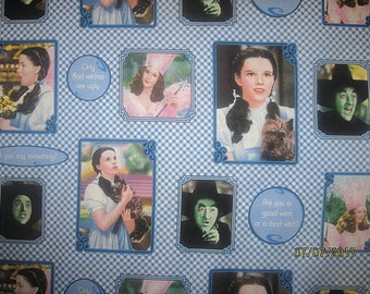 Wizard Of Oz Fabric, Dorothy Fabric, Oz Fabric, Fat Quarter, FQ, 18X22, Check, Blue, gingham, Block, scrap, remnant