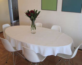 Nice Oval Linen Tablecloth, Custom Made, Table Linen, Table Cloth Oatmeal, Or  Choose