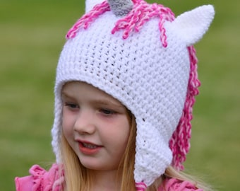 Unicorn / Pony Hat, All Sizes Available, Fantasy Play, Costume, Crochet By Allie