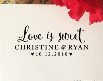 Love is Sweet Wedding Favor Stamp, Personalized Wedding Stamp, Self Inking Stamp, Custom Wooden Stamp, Eco-Friendly Rubber Stamp