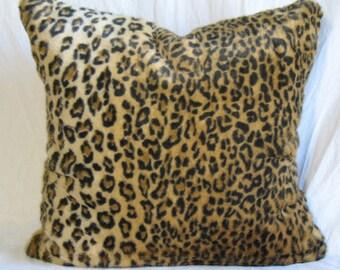 """Super Real-Faux Leopard sumptuous Fur Throw Pillow Cover 22x22"""" Rich Accent Pillow Soft Lush faux Leopard"""