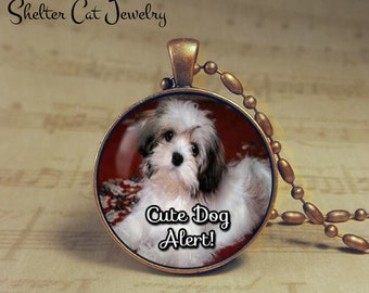 """Cute Dog Alert Necklace - 1-1/4"""" Circle Pendant or Key Ring - Handcrafted Dog Wearable Photo Art Jewelry - Gift for Puppy Person"""