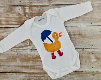 Duck Baby Bodysuit Sale - Reduced Demo Duck Vest - Duck in Red Wellies with Blue Umbrella - Duckling Baby Clothes - Baby Clothes Sale
