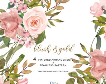 Watercolor Flower Clipart  Blush Rose Gold Leaves Clipart Hand Painted Bouquet and Seamless Pattern Tile Commercial Use | A15 Blush & Gold