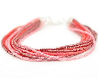 Red Beaded Bracelet | Seed Bead Bracelet | Ombre Beaded Bracelet | Red and Pink Beaded Bracelet | Gifts for Her