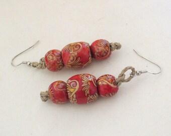 Painted Wood Orbs Earrings - Fish hook earrings