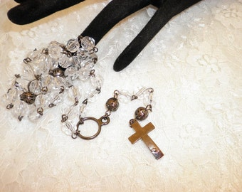 Clear Bead And Gun Metal Rosary Beads