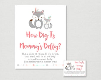 Tribal Fox How Big Is Mommy's Belly Game / Fox Baby Shower / Tribal Baby Shower / Boho / Belly Guessing Game / INSTANT DOWNLOAD A165