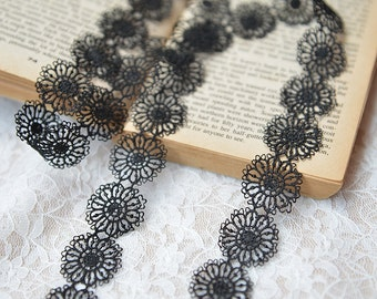 Vintage Style Embroidery Flower Embroidery Black Lace Trim  (M2)