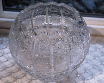 "Vintage Cut Crystal Bowl, Star Pattern, Poland?,  5 1/2"", Not Marked Large Rose Bowl, Candy Dish, Nut Dish, Wedding 1960s"