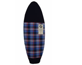 Blue Plaid Surfboard Bag - Surf Sock with Wax Repelling Interior