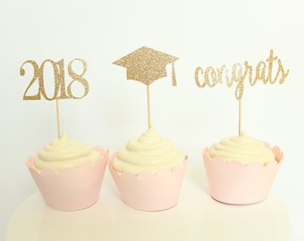 Graduation Cupcake Toppers - 2018 Cupcake Toppers - Congrats Cupcake Toppers - Graduation Cap Cupcake Toppers - Graduation Party Decor