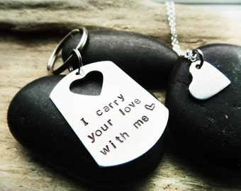Long Distance Valentine Couples Keychain- I Carry Your Love With Me- Couples Anniversary Jewelry- Two Part Couple Set- Necklace Heart Stampe