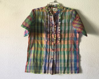 Vintage Blouse - Ruffled Front Button Up Short Sleeve Top Cotton Sheer Plaid Shirt