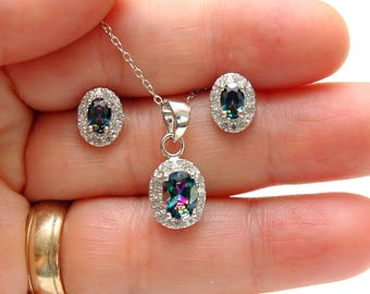 Halo Oval Mystic Topaz Necklace Set, Silver Rainbow Topaz Studs, Mystic Topaz Jewelry Set, Oval Studs, gifts for her, Silver Gemstone set