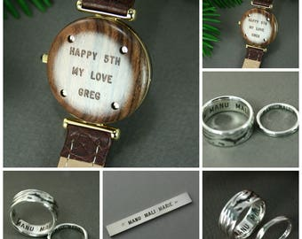 Engraving for wrist wood watch, Mechanical engraving personalized for rings or wrist watch, Engraved Watch, Engraving unique handmade