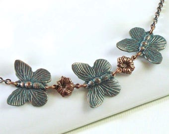 Butterfly Necklace - Teal Copper Necklace, Small Butterfly Necklace, Butterfly Jewelry,  Nature Jewelry, Bridesmaid Jewelry