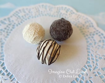FAUX Fake Chocolate Truffle set Sprinkles REALISTIC Kitchen Decor Display