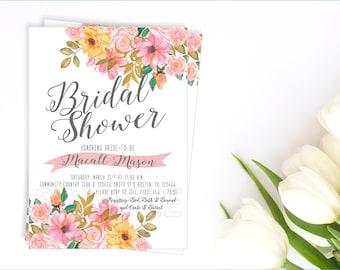 Floral Bridal Shower Invitation, Flower Bridal Shower Invite, Printable Bridal Shower Invite, Rustic Floral Invite, Vintage Floral Invite