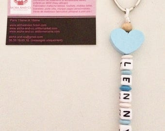 Key ring personalized blue heart