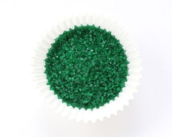 Green Crystal Sugar, Dark Green Chunky Sugar, Green Sugar Sprinkles, Christmas Crystal Sugar  (4 ounces)