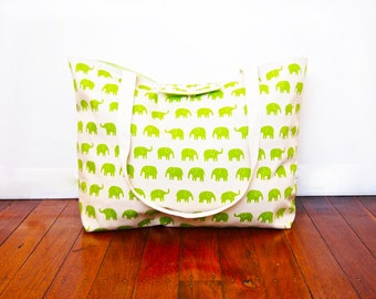 Extra-Large Beach Tote Bag / Nappy Diaper Bag with Built-in Wet Bag Pocket - Green Elephant (Made to Order)