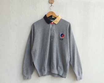Vintage Elf Collar Sweatshirt Embroidery Small Logo