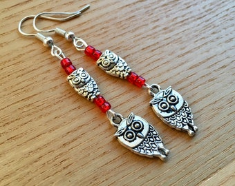 Owl Charm Earrings, Bird Jewellery, Bargain Earrings, Nature Lover Gifts, Tibetan Jewellery, 21st Birthday Gift for Sister, Present for Mum