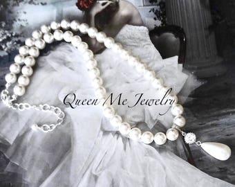 Brides white pearl necklace Swarovski 8mm pearl necklace Pearl pendant necklace Pearl wedding necklace Classic pearl necklace Brides Jewelry