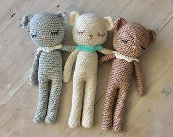 Pretty TEDDY-bear amigurumi animal with collar,crochet teddy,crochet toy,teddy-bear,toddler gift,newborn birth gift,teddybear crochet cotton