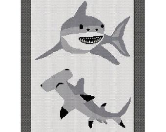 INSTANT DOWNLOAD Chella Crochet Shark Hammerhead Great White Afghan Crochet Pattern Graph Chart .PDF