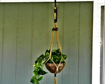 FREE SHIPPING!!!  A Beautiful 50 Inch Pearl and Almond Macrame Plant Hanger!