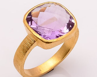 925 sterling silver Amethyst Gemstone Ring satin finish Gold Plated