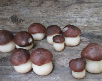 Marzipan Penny Bun Mushrooms (10) - mushroom cake decorations - log cake - fall wedding cake decorations - marzipan porcini mushrooms